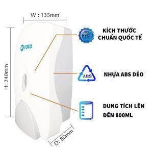 Đặc điểm bình đựng xà bông dạng nhấn RT800