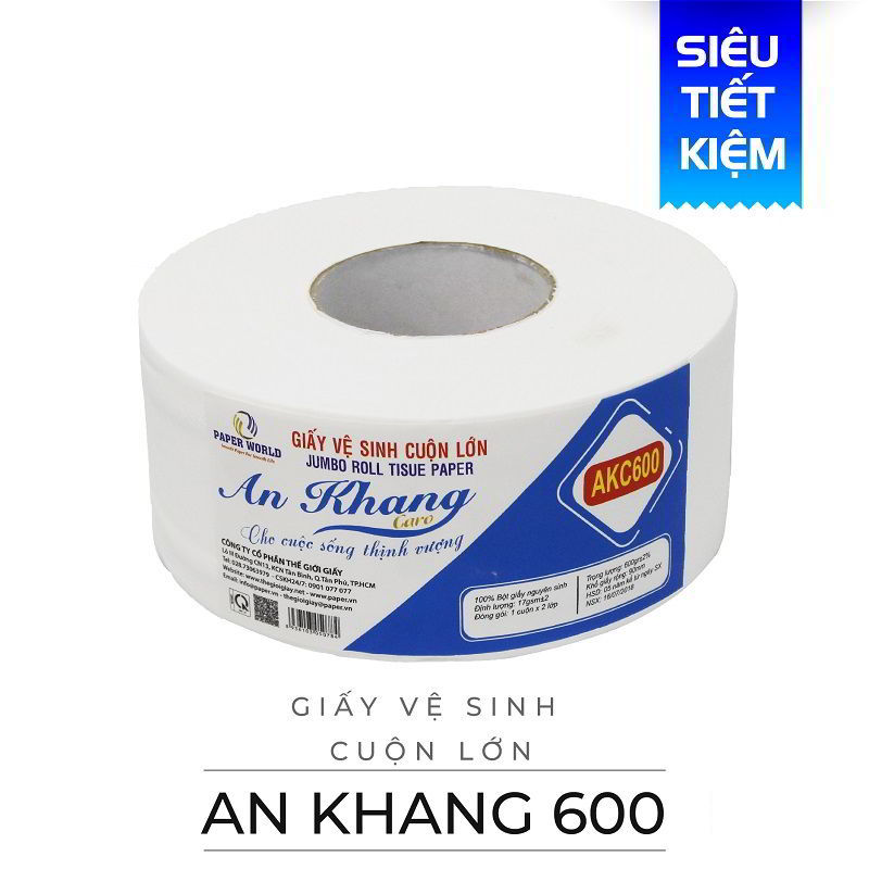 Cung cấp giấy vệ sinh cuộn lớn an khang caro600-thegioigiay.net