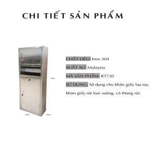 Kích thước hộp đựng giấy lau tay có thùng rác roto730-paper.vn