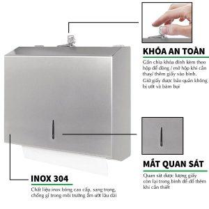 Đặc điểm hộp đựng giấy lau tay inox roto1220I - paper.vn