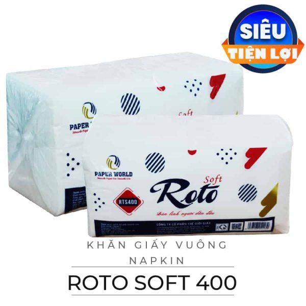 Cung cấp khăn giấy vuông napkin roto soft 400-paper.vn