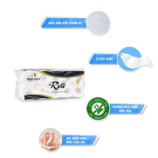 Đặc điểm Giấy vệ sinh cuộn nhỏ cao cấp Roto Silk10