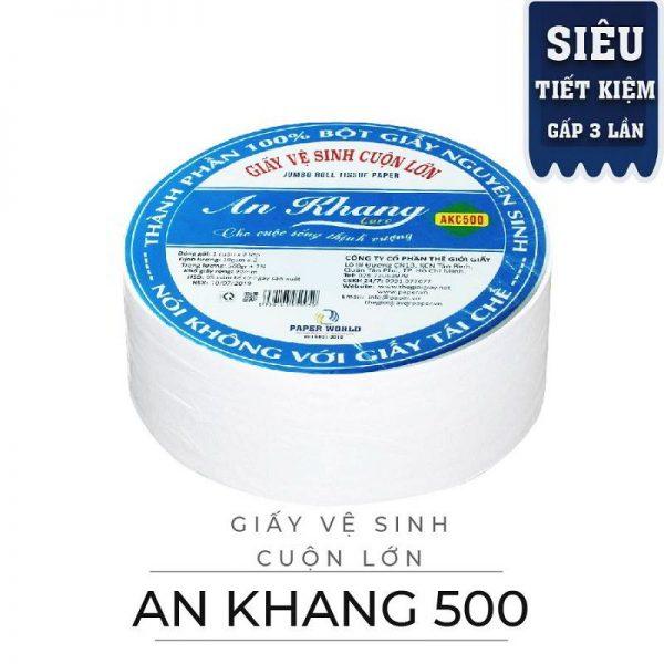 Cung cấp giấy vệ sinh cuộn lớn An Khang Caro500 - Paper.vn