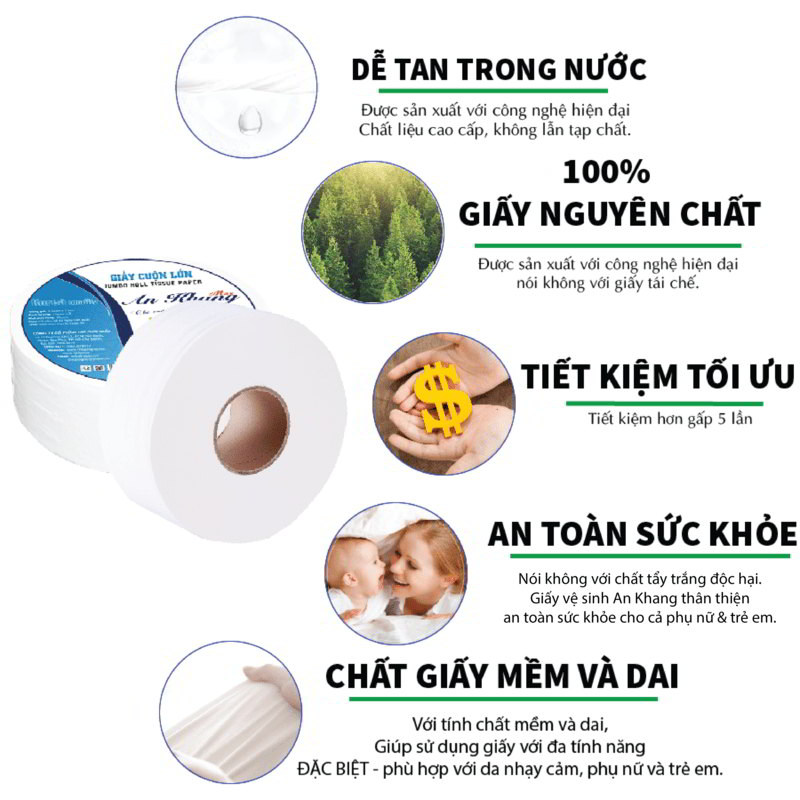 Ưu điểm của giấy vệ sinh cuộn lớn An Khang Max180