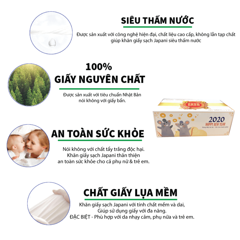 Khăn giấy lụa hộp TẾT 2020 - JPS180 - paper.vn