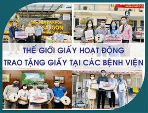 Thế Giới Giấy trao tặng giấy cho các bệnh viện phòng chống covid-19