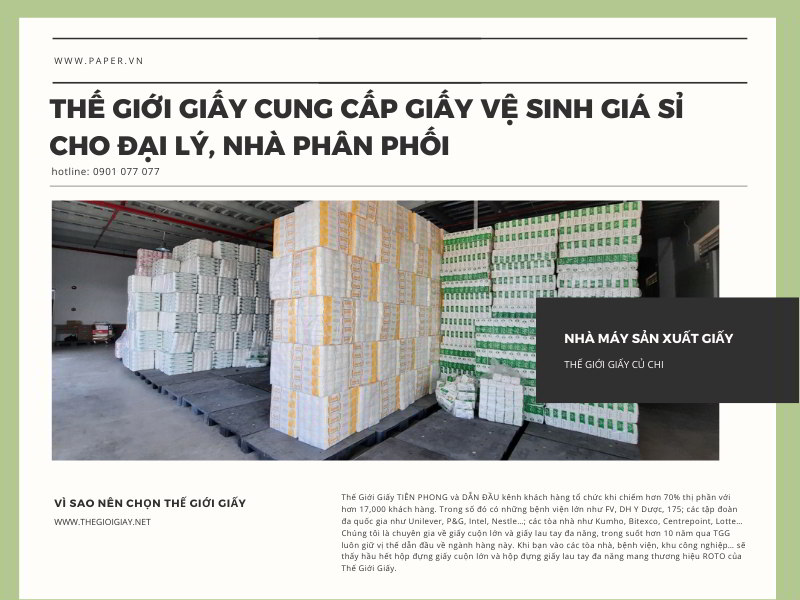 Thế Giới Giấy cung cấp giấy vệ sinh giá sỉ cho đại lý nhà phân phối